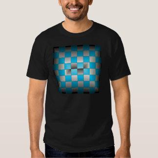 Turquesa y tablero de damas gris de la ilusión camisetas