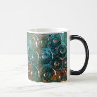 Turquesa y taza de café abstracta coloreada cobre
