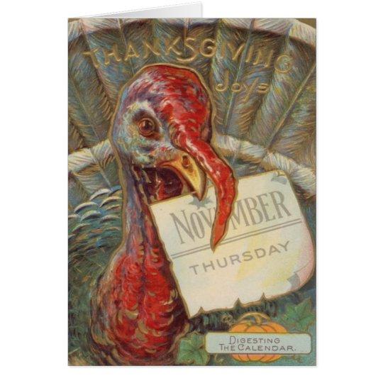 Turquía que come el calendario de noviembre tarjeta de felicitación