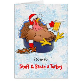 Turquía rellena y rociada (cerveza) tarjeta de felicitación