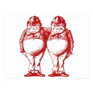 Tweedle Dee y Tweedle el rojo entintado Dum Postal