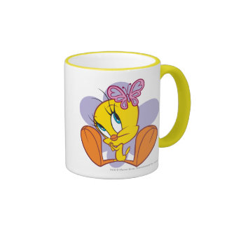 Tweety y mariposa taza de dos colores