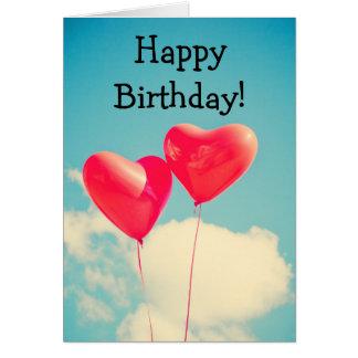 Two heart balloons: Happy Birthday Card Tarjeta De Felicitación