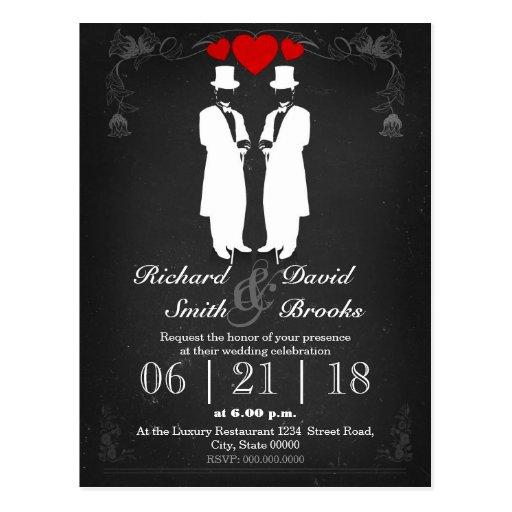 Two men in tuxedo with hats - Gay wedding Postal