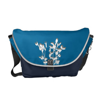 Two tone blue growing plant leaves modern nature courier bag