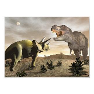 Tyrannosaurus que ruge en el triceratops - 3D Invitación 12,7 X 17,8 Cm