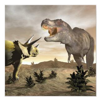 Tyrannosaurus que ruge en el triceratops - 3D Invitación 13,3 Cm X 13,3cm
