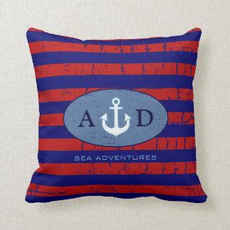 U.S. decoración náutica personalizada rayada color Almohada