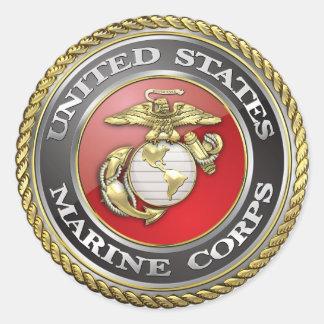 U.S. El Cuerpo del Marines (USMC) simboliza [3D] Pegatinas Redondas