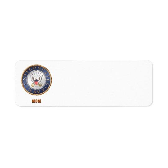 U.S. Etiqueta de dirección de la mamá de la marina