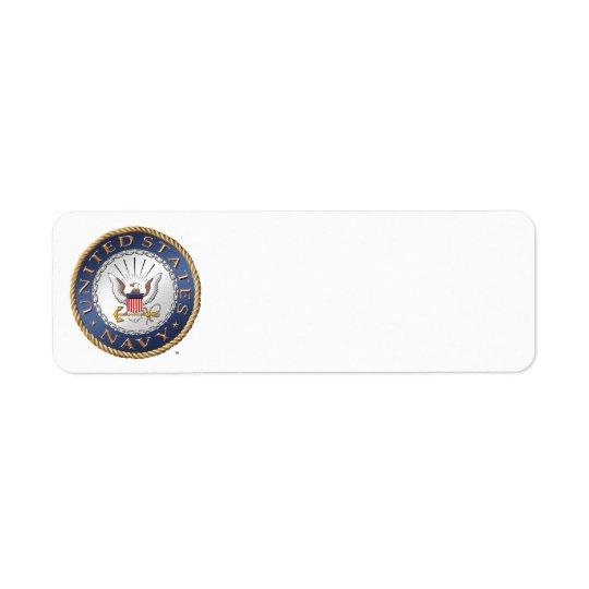 U.S. Etiqueta del remite de la marina de guerra Etiqueta De Remitente
