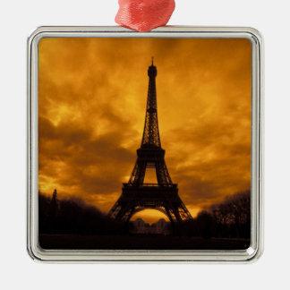 UE, Francia, París.  Torre de Eiffel Adorno Cuadrado Plateado