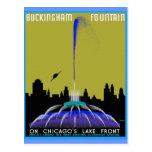 UFO sobre la fuente de Chicago - de Buckingham Postal