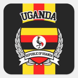 Uganda Pegatina Cuadrada