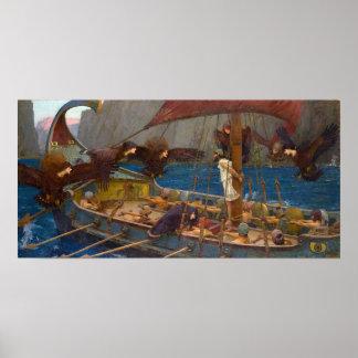 Ulises y las sirenas de J.W. Waterhouse Póster