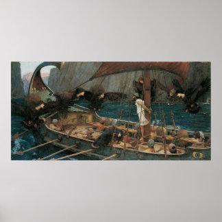 Ulises y las sirenas por el Waterhouse de JW Poster