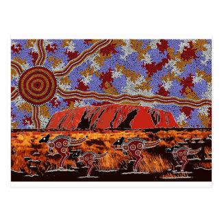 Uluru - arte aborigen auténtico postal