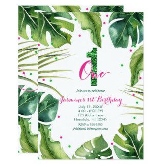 UN 1 verde tropical del rosa de las hojas del 1r Invitación 12,7 X 17,8 Cm