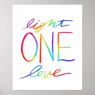 Un amor y poster inspirado ligero del arte de las