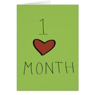 Un aniversario del mes tarjeta de felicitación