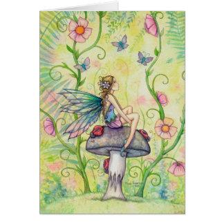 Un arte de hadas de la fantasía de la flor feliz tarjeta de felicitación