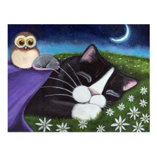 Un arte vigilante del gato del smoking de la postal