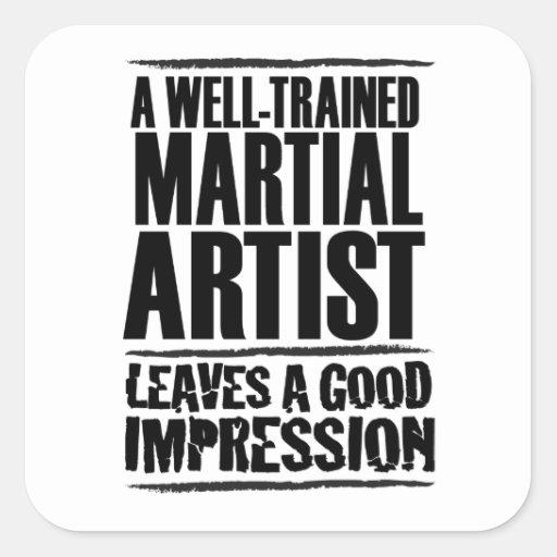 Un artista marcial bien entrenado calcomanías cuadradass