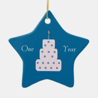 Un azul adaptable de la torta de cumpleaños de la adorno de cerámica en forma de estrella