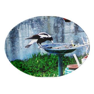 Un birdbath fuente de porcelana