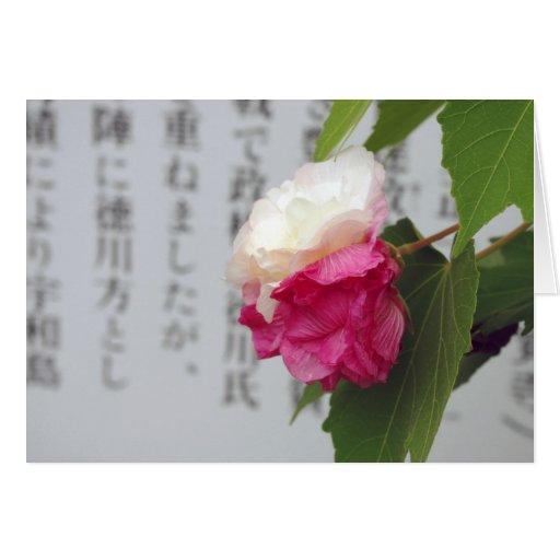 Un blanco, una flor rosada y caracteres japoneses tarjetas
