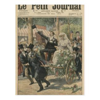 Un boda en una carretilla de mano tarjetas postales