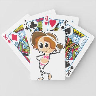 Un bosquejo de un chica que lleva un traje de baño cartas de juego