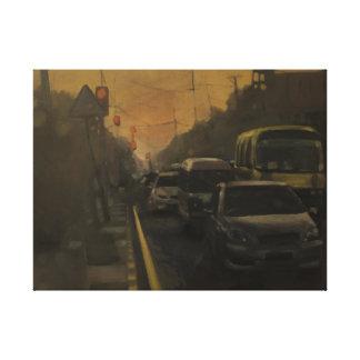 Un camino más bajo de la alameda, aceite en la impresión en lienzo