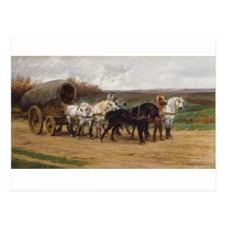 Un carro y un equipo de caballos por Rosa Bonheur Postal