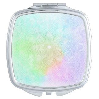 Un chapoteo del espejo compacto en colores pastel
