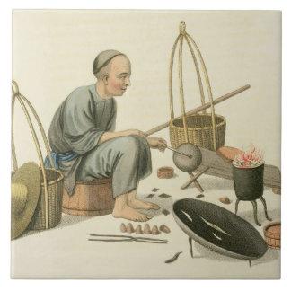 """Un chapucero, platea 37 """"del traje de China"""", en Azulejo Cuadrado Grande"""