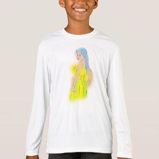 Un chica en sus niños t camiseta