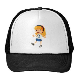 un chica en uniforme escolar gorros bordados