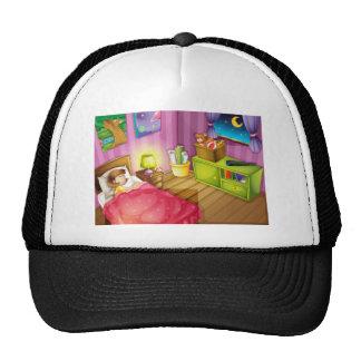 un chica y un dormitorio gorros bordados