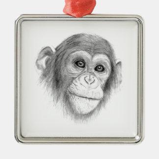 Un chimpancé, no monkeying alrededor bosquejo adorno navideño cuadrado de metal