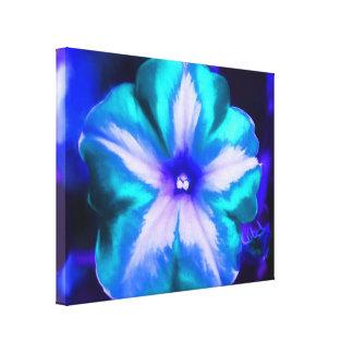Un cierre para arriba de una flor de neón impresión en lienzo