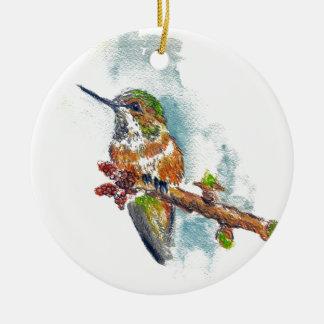 Un colibrí, dibujo de lápiz de la acuarela adorno redondo de cerámica