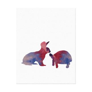 Un conejo y una tortuga impresión en lienzo