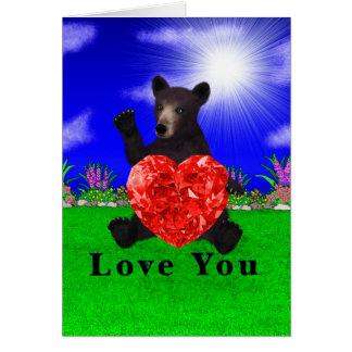 Un corazón de los osos negros tarjeta de felicitación