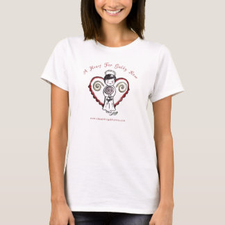 Un corazón para la camiseta color de rosa locuaz
