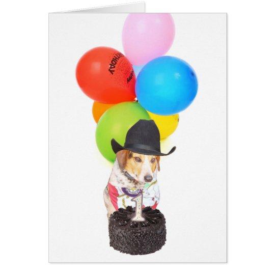 Un cumpleaños año tarjeta de felicitación