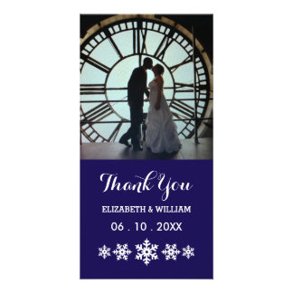 Un de agradecimiento azul profundo del boda y una tarjeta personal