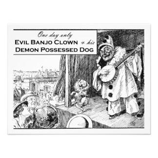 Un día solamente: Payaso malvado del banjo Invitacion Personal
