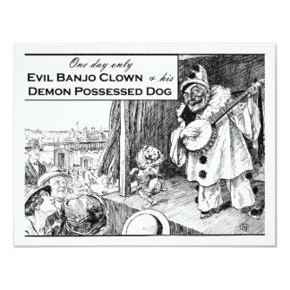 Un día solamente: Payaso malvado del banjo Invitación 10,8 X 13,9 Cm