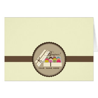 Un docena franceses Macarons Bonjour Notecard Tarjeta